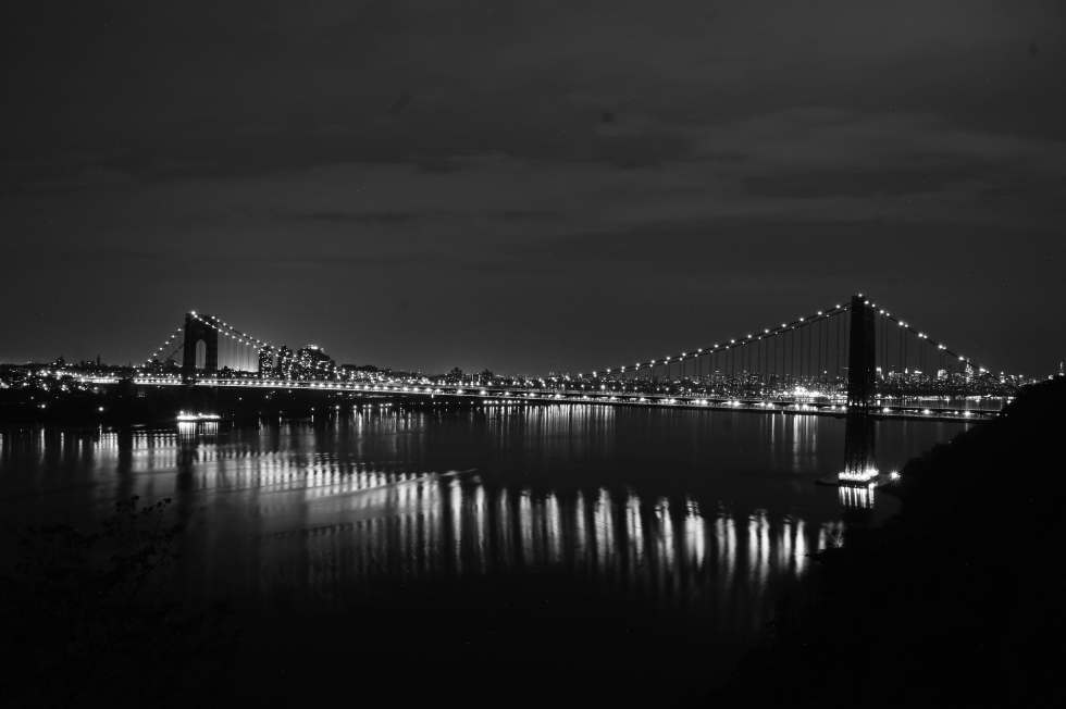 George Washington Bridge black and white