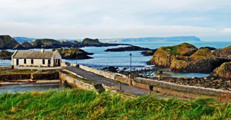 The irish coastline and cottage