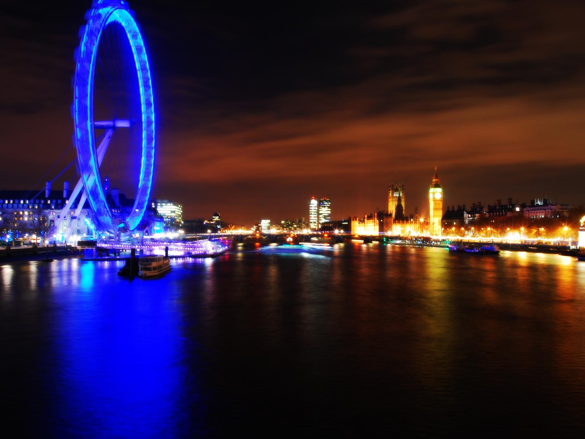 long exposure of big ben and the london eye