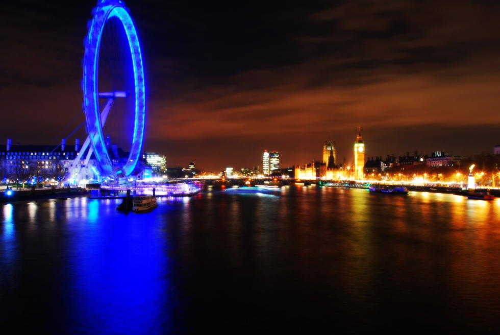 long exposure of big ben and the london eye