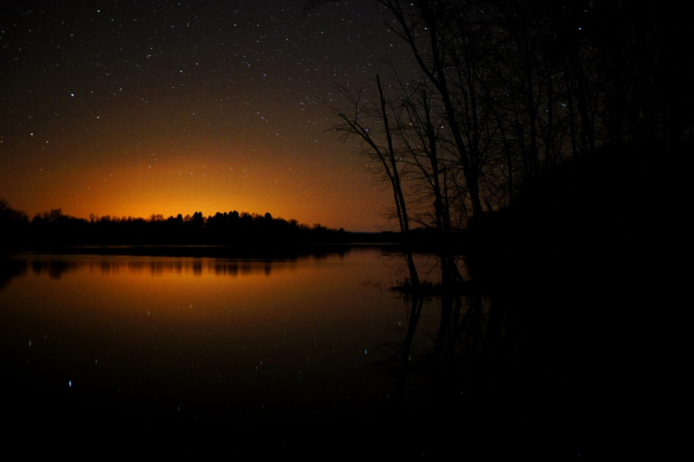 stars reflecting off a vermont lake