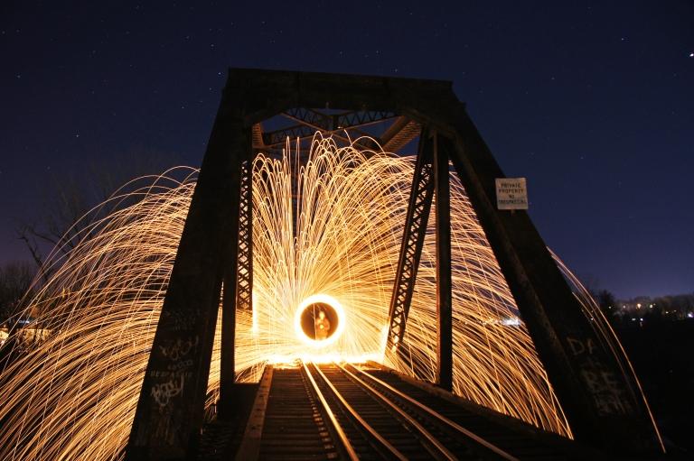Steel wool on a bridge