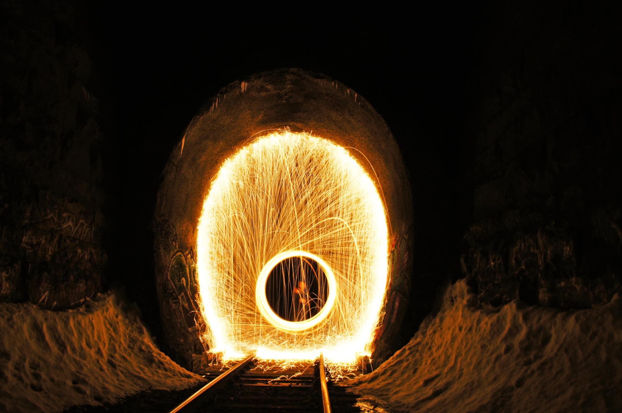 steel wool in a tunnel