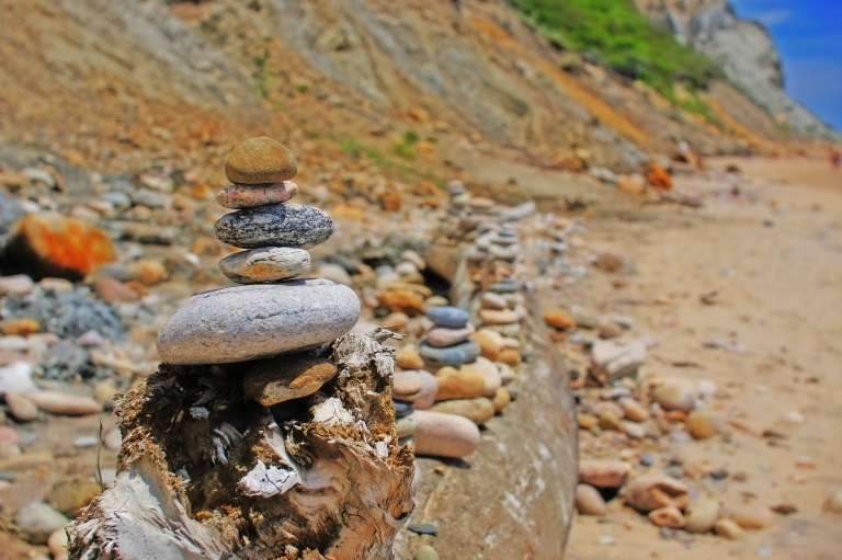 rocks stacked on the beach