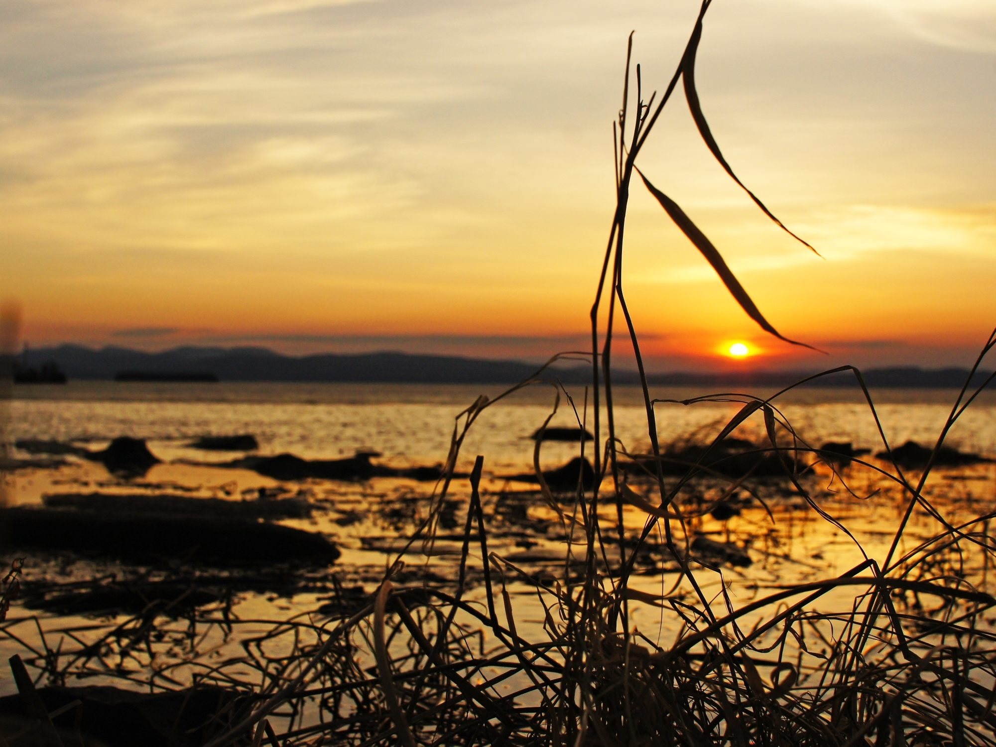 sunset over lake champlain, vermont